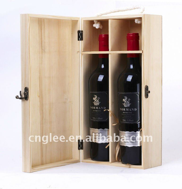 Natural Color 2 bottle Wine Boxes Made By Wooden