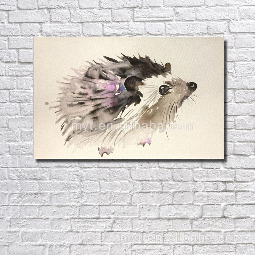 Available home decor nice handmade oil painting cute wild animal hedgehoge picture dropship