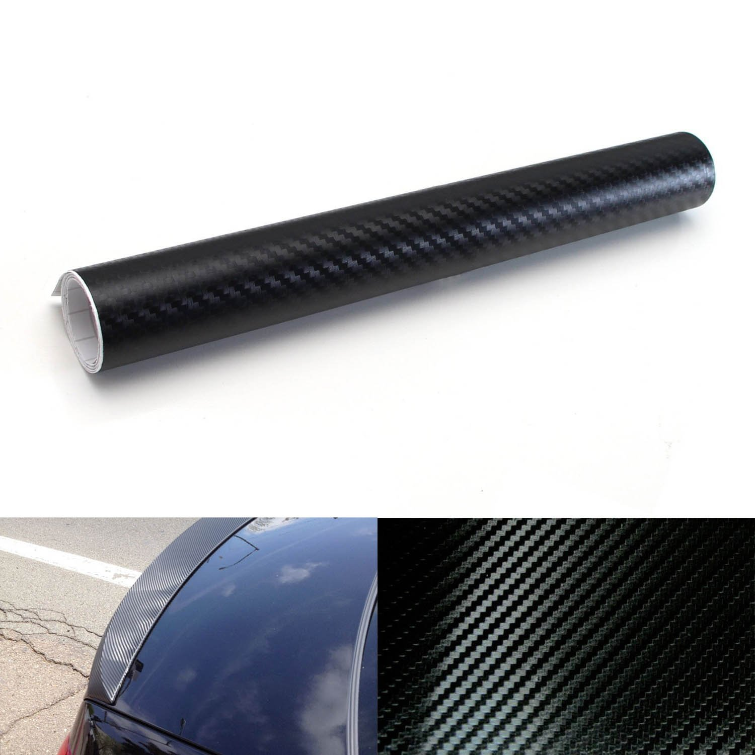 iJDMTOY 12 by 40 inches 3D Twill Weave Glossy Black Carbon Fiber Vinyl Sheet For Trunk/Bumper/Roof Lip, Spoiler, Side Markers, Side Skirts, Fender, Interior, etc