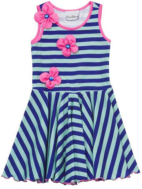 2b7ea99eb36 Get Quotations · Rare Editions Little Girls 2T-6X Mint-Green Blue Stripe  Knit Circle Skirt