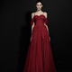 Party show evening dress sexy red lace see through ladies long evening party wear gown