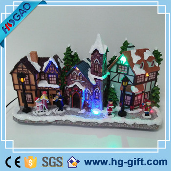Led Lights Christmas Ornament Resin Model House Village With Snow Battery Operated View Christmas Model House Hg Lights Christmas Village Houses