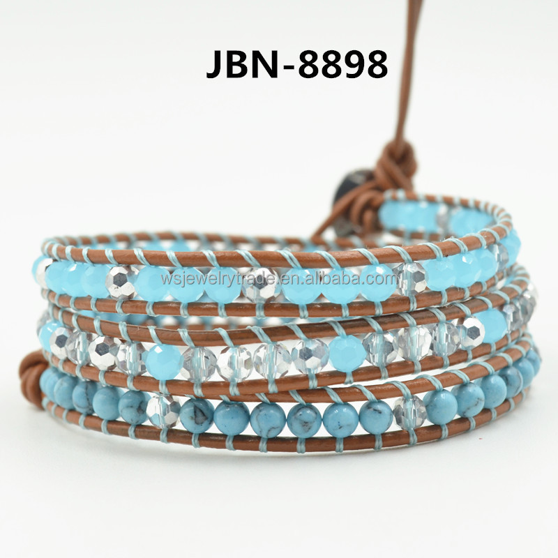 Latest LUU Leather Cord woven Crystal Bracelet Natural turquoise weave