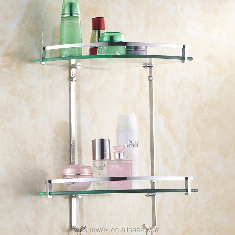 Bathroom Accessories Glass Shelves dual tier glass bathroom corner shelf triangle bathroom glass