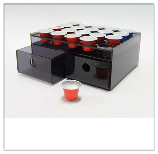 China Supplier Wholesale Hot Sale Plastic Coffee Capsule Display Rack with 2 Drawers Acrylic Nespresso Coffee Pod Holder