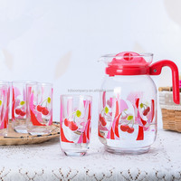 Clear Glass Water Juice Jug With Up Set