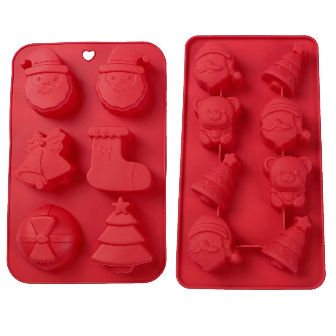 Webake Christmas Silicone Cake Mold 1Pack 6-Cavity and Christmas Silicone Chocolate Mold 1Pack 8-Cavity