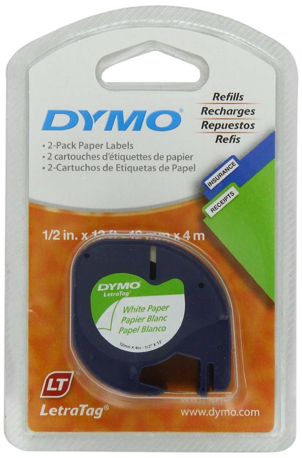DYMO 10697 Self-Adhesive Paper Tape for LetraTag Label Makers, 1/2-inch, White, 13-foot Roll, 8-Pack