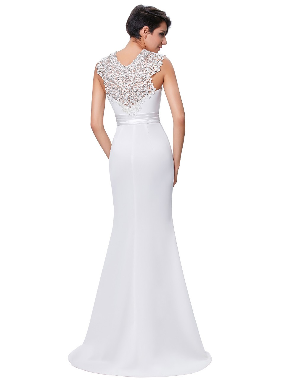 Kate Kasin Floor-Length Sleeveless Spandex Long White Prom Dress Party Dress Evening Dress 8 Size US 2~16 KK000146-1