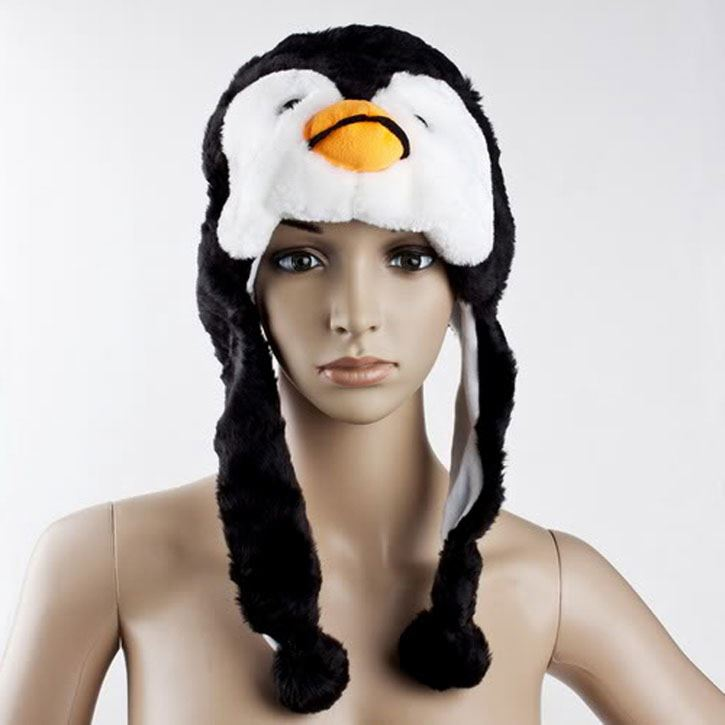 Careful Cute Cartoon Penguin Earmuffs Animal Penguin Mascot Plush Warm Cap Hat Warmer New Men's Bomber Hats Men's Hats