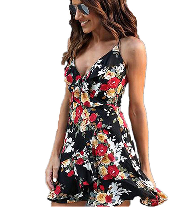 ❤ HOT SALE! Londony Layered Fishtail Prom Dress With Spaghetti Strap For Women Summer Boho Floral Print Mermaid Dress (Black❤️, L)