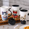 20oz ceramic coffee cup with handles, lid,ceramic latte coffee mug,Carton design MR CAT mug.