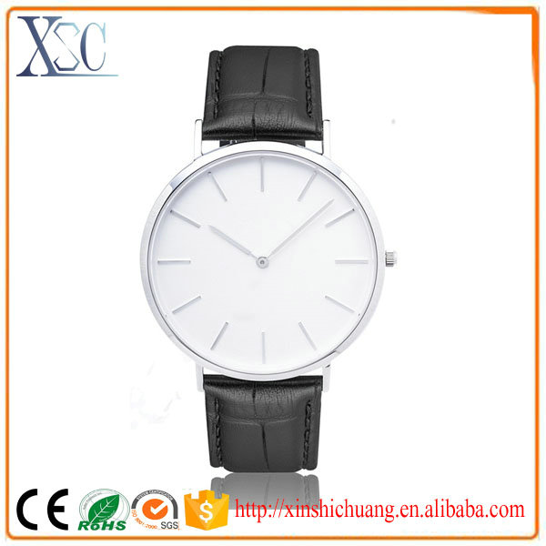 3 atm stainless steel back genuine leather quartz watch golden men relojes