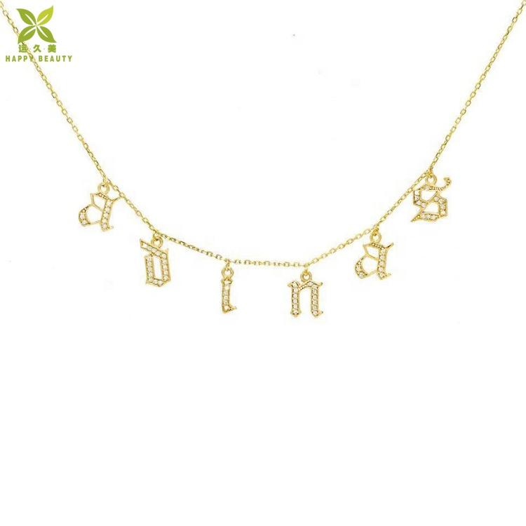 18 k gold plated white zircon บล็อกตัวอักษร choker สร้อยคอขายส่ง