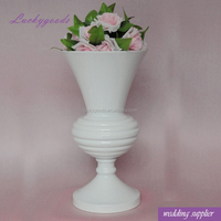 LDJ731 wholesale 42cm white stainless steel metal flower vase for indoor decoration