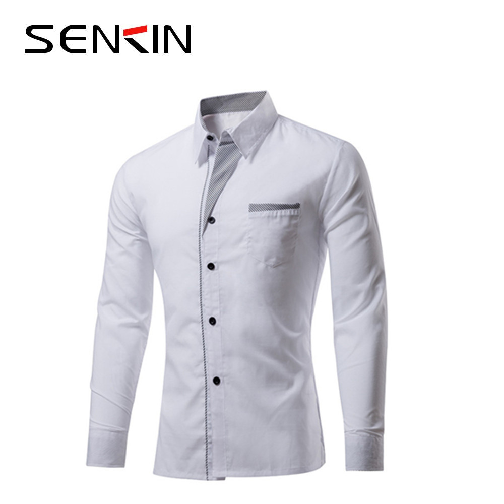 Mens Long Sleeve White Dress Shirt Comfortable Formal Business