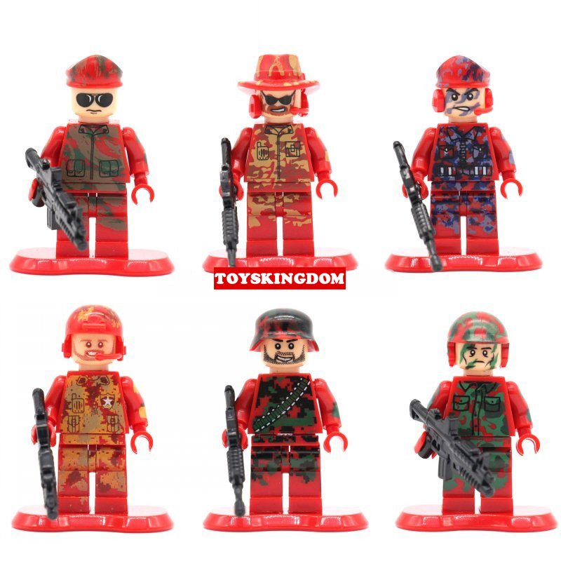 Military Army Anti terrorist Red Alert special forces minifigures weapons building block compatible with legolieds toys
