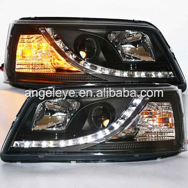 For Volkswagen T5 Caravelle Multivan LED Head Light with Projector Lens 2003-2010year Black Housing SN