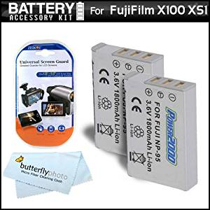 2 Pack Battery Kit For Fuji Fujifilm X-S1, X100, X100S, XS1, X30 Digital Camera Includes 2 Extended (1800Mah) Replacement NP-95 Batteries + LCD Screen Protectors + MicroFiber Cleaning Cloth
