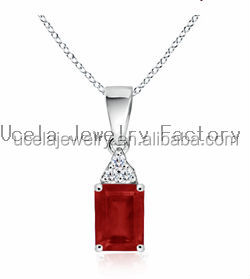 Emerald Cut Ruby and Diamond Dangling Pendant necklace gold jewelry set