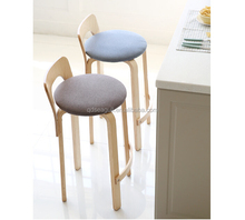 Hot sale modern deisgn wooden frame fabric top bar stool