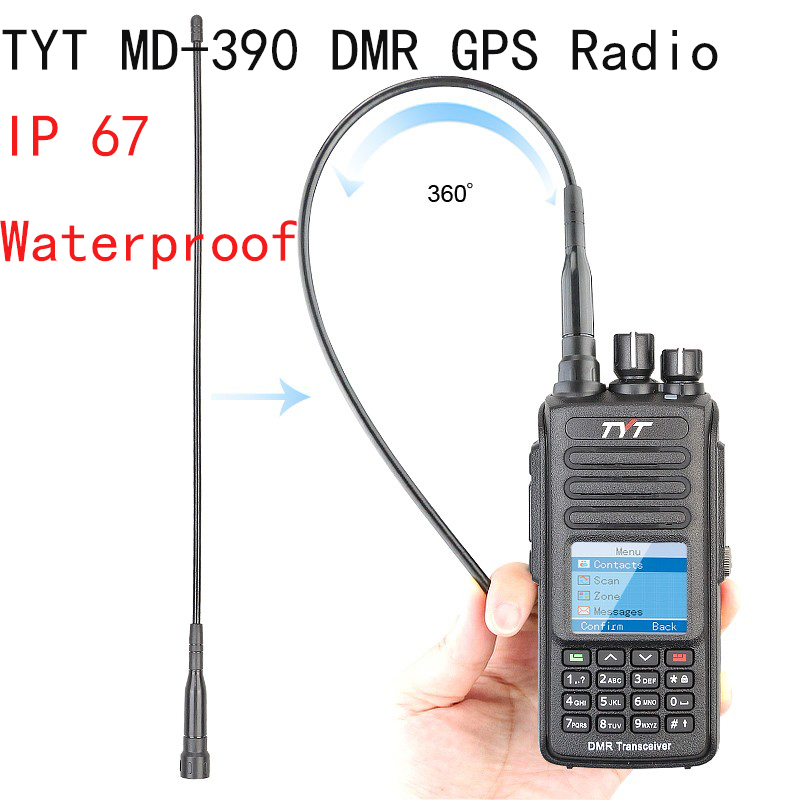 TYT MD-390+GPS IP67 Waterproof Portable Transceiver Digital 2way Radio UHF 400-480MHz Tytera DMR Walkie Talkie with Pro Cable