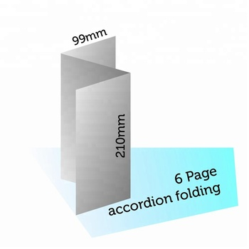 210*99mm, 6 pages (3 panels) accordion folding cheap booklet print pamphlet printing in shanghai