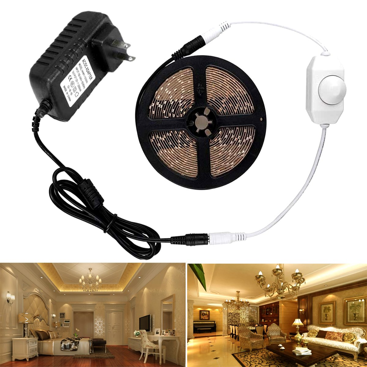 Autai Dimmable LED Light Strip Kit with Power Supply and Dimmer, 300 LEDs 2835 16.4ft 12V LED Ribbon Non-waterproof Warm White Lighting Strips LED Tape for Kitchens Cabinets Bedrooms Crown Molding