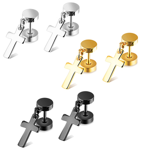 Fashion Stainless Steel Stud Dangle Plated Silver Gold Cross Earrings For Men Women