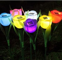 Tulip Flower Shaped Outdoor Yard Garden Lawn Path Lighting Solar Power LED Tulip Landscape Flower Lamp Lights Stake Lights