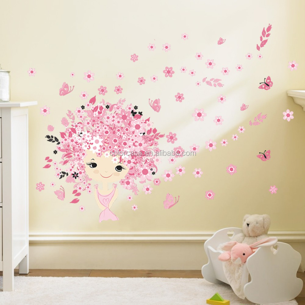 ColorcasaZYPA 068 N Beautiful Girl Flower Butterfly Wall Stickers Fairy  Princess PVC Wall Stickers