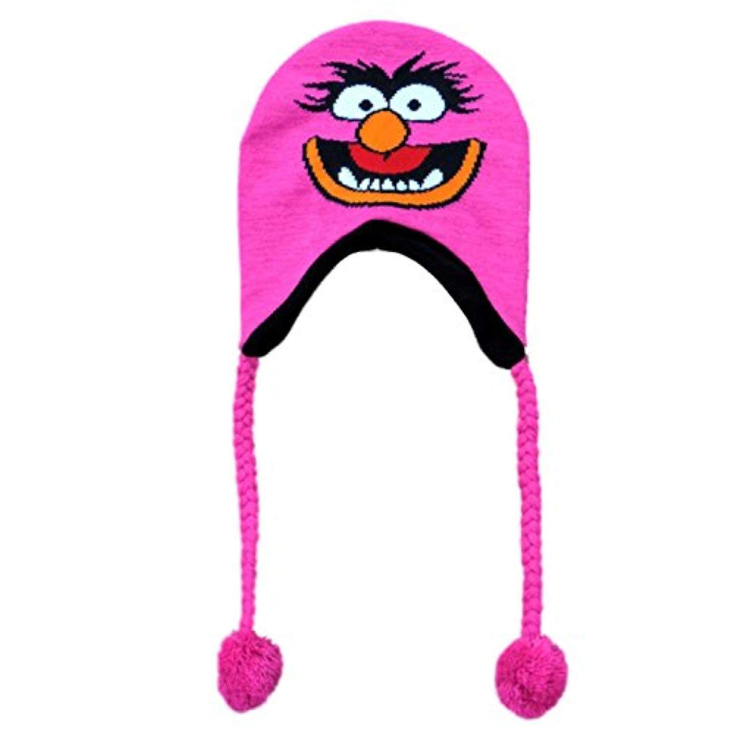 c7341762c82a5c Get Quotations · The Muppet's Womens Pink Knit Animal Peruvian Style Trapper  Hat Fleece Lined