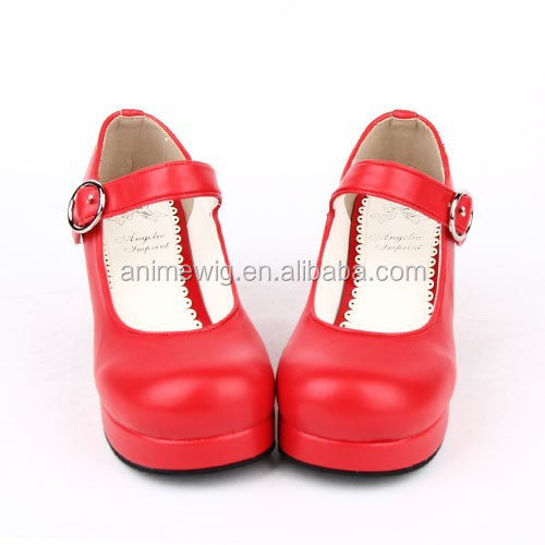Lolita Gothic Red Synthetic soled 2015 leather LL001 Pumps 1 Fashion Shoes Rubber Quality High New xq11ZHB