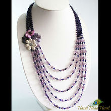 Purple Amethyst and shell flower necklace handcrafted JN21