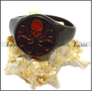 Punk Devil Total Black Plating Round Signet Ring with Red Six Claw Octopus skull