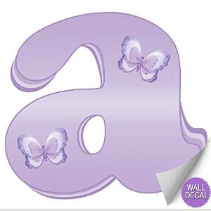 """Wall Letters """"a"""" Lavender Purple Butterfly Decorative Wall Letter for Children's Nursery Baby's Room Baby Name Girls Bedroom Decor Alphabet Vinyl Stickers Decals Kids Decorations Graphics Butterflies"""