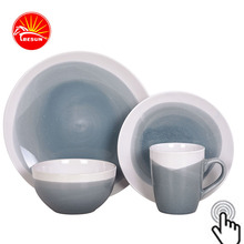 Grey Brist Melamine Square Reactive Glaze Dinnerware (Set of 4) Assorted