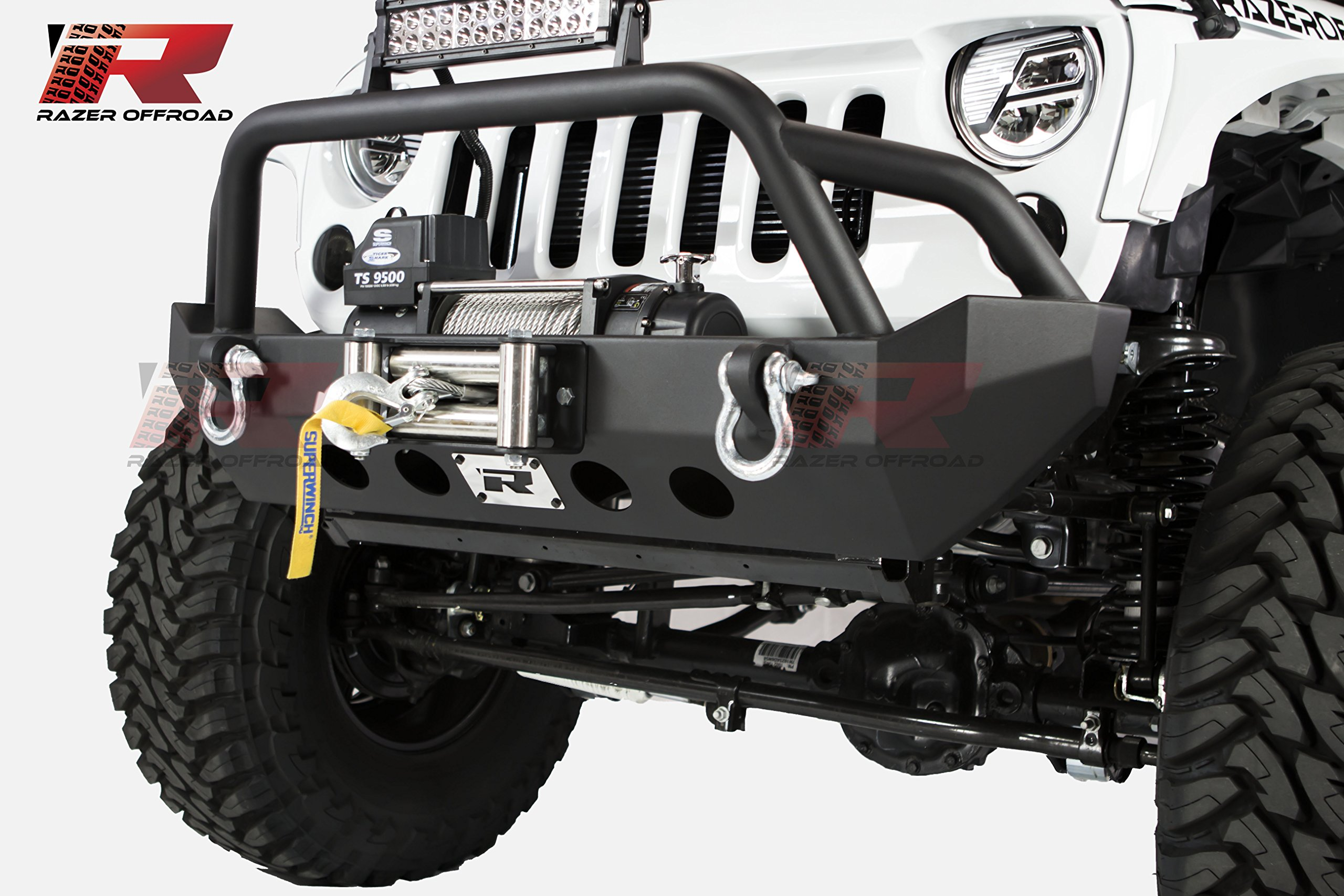 Razer Auto 07-17 Jeep Wrangler JK Black Textured Rock Crawler Stubby Front Bumper With 2x D-Ring & Winch Plate