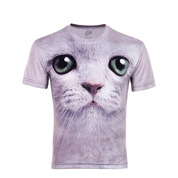a23267bb3b2e Get Quotations · summer style 3D Creative Cat Head Printing Animal Short  Sleeve Personalized T-Shirts for Boy