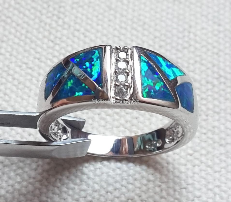 Men's Blue Fire Opal Rings Jewelry USA SIZE 7