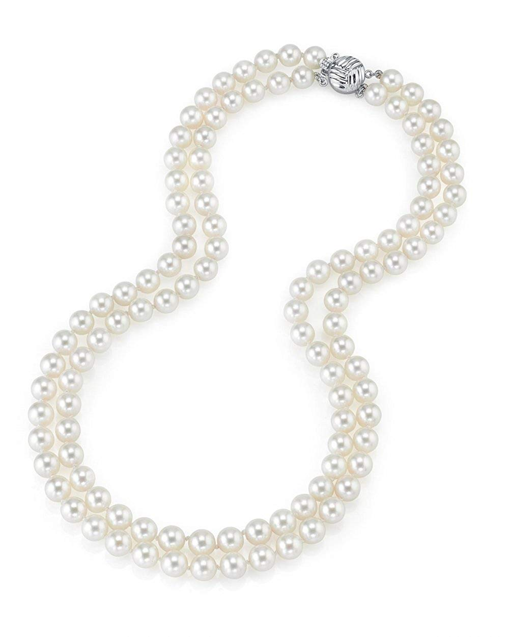 """THE PEARL SOURCE 14K Gold 7-8mm AAAA Quality Double Strand White Freshwater Cultured Pearl Necklace for Women in 17-18"""" Princess Length"""