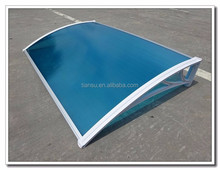 CE test polycarbonate hollow canopy for door PC awning black bracket
