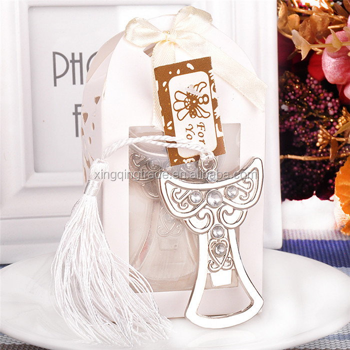 Stainless Steel Angel Bottle Opener with White Tassel Pendant Design Exquisite Wedding Baby Shower Party Favors Gifts