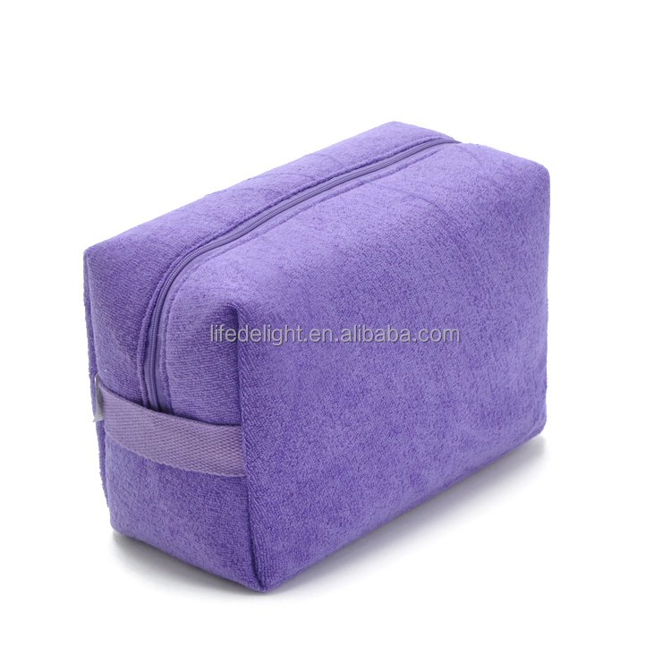 candy color towel fiber cloth fabric cosmetic bags, waterproof travel cosmetic organizer