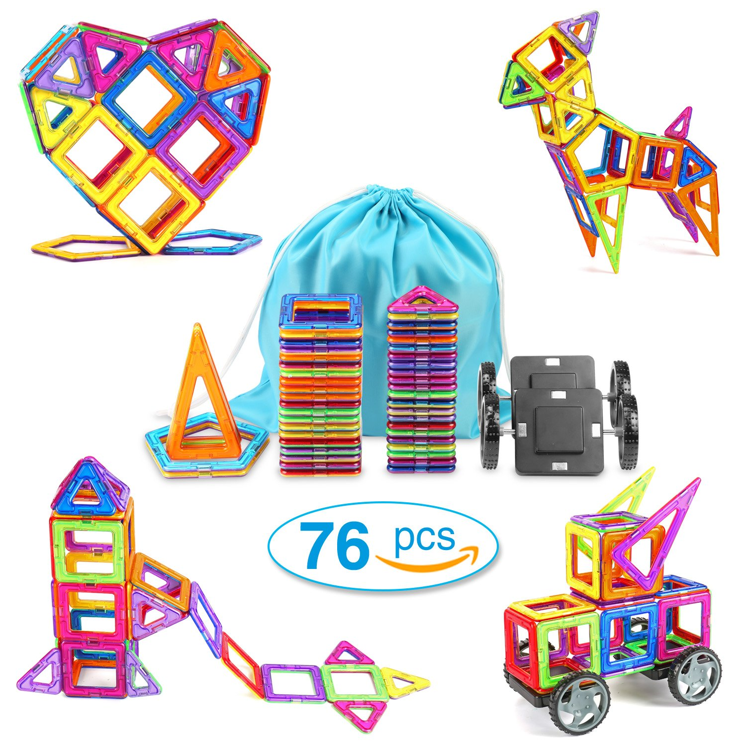 TOQIBO Magnetic Blocks Building Set 76PCS Magnet Tiles Educational Toys For Kids/Toddlers/Children With Storage Bag