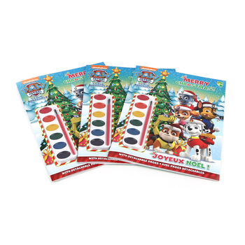 Christmas children softcover coloring book with pigment