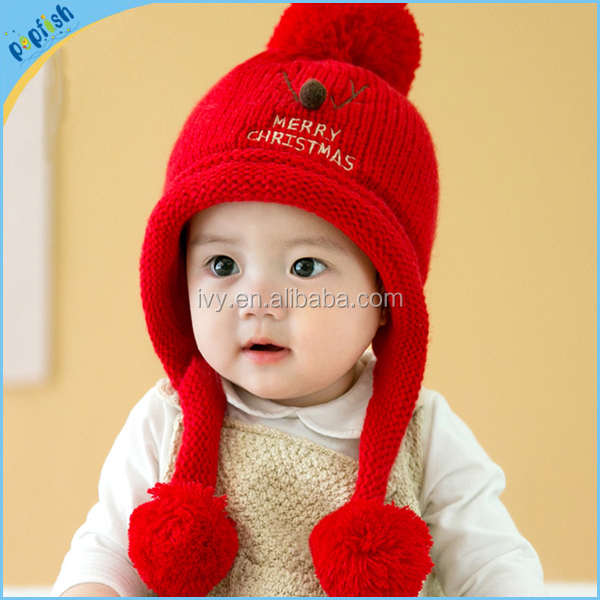 2016 nuevos estilos invierno promoción Navidad suéter orejera pompom  sombrero niños 57ebdf9d96a