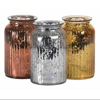 Custom silver rose gold electroplated ribbed large glass candle jar