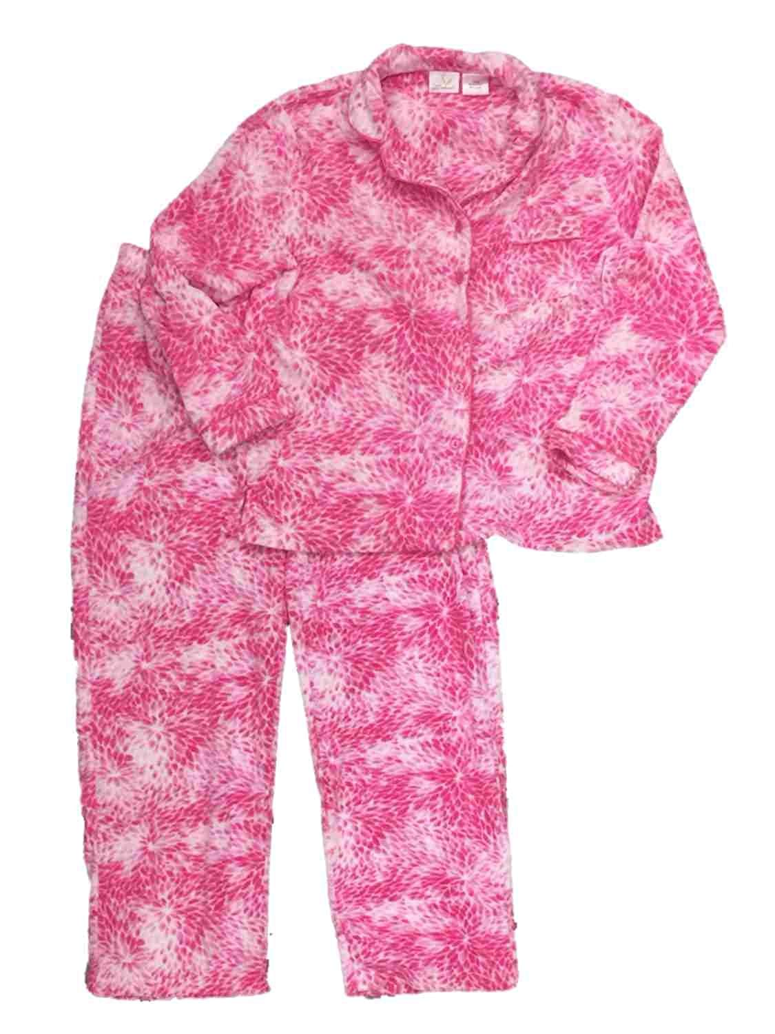 Soft Sensations Womens Pink Flower Paisley Fleece Pajamas PJs Lounge Sleep  Set 2587c0bdd