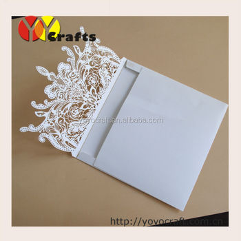 laser cut white lace envelope wedding invitations with printed